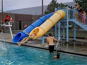 Slip and slide at Genesee Valley Park pool.